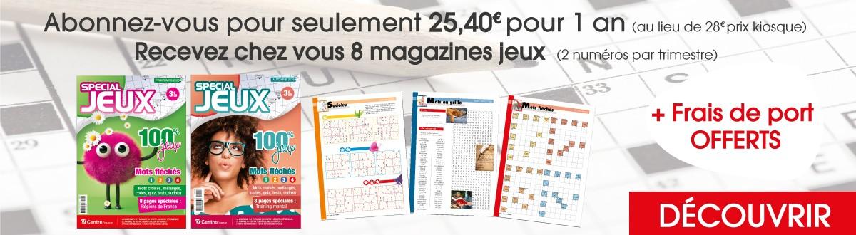 Abonnement 1 an pour 8 magazines jeux